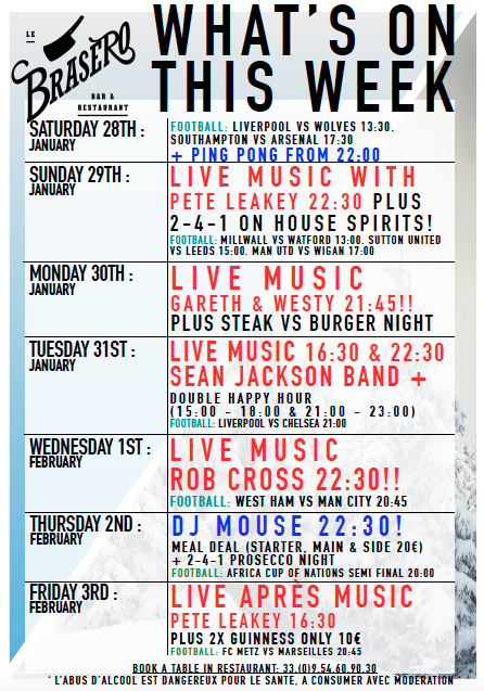 Whats On at Brasero Bar this Week….