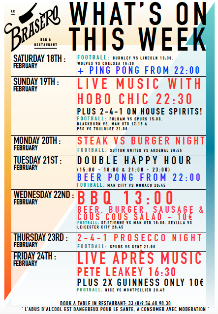 WHATS ON THIS WEEK AT THE BRASERO BAR….