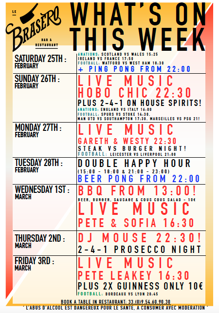 WHATS ON – BRASERO BAR THIS WEEK