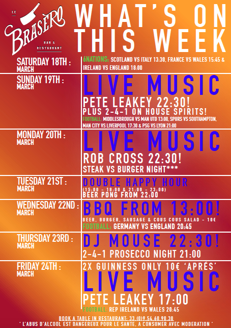 Whats ON this week in Brasero Bar