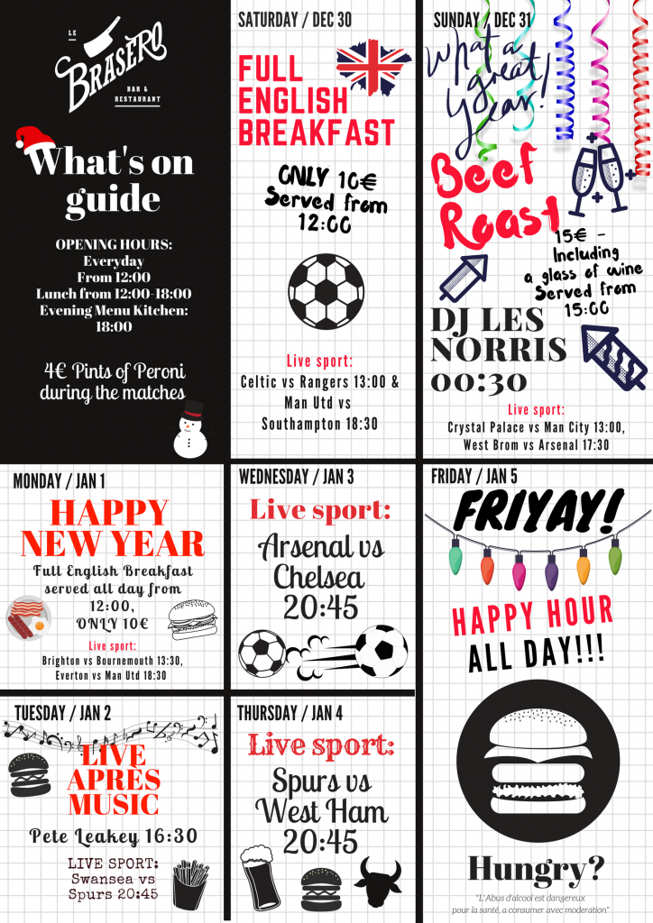 WHATS ON This week in Brasero Bar… HAPPY NEW YEAR!