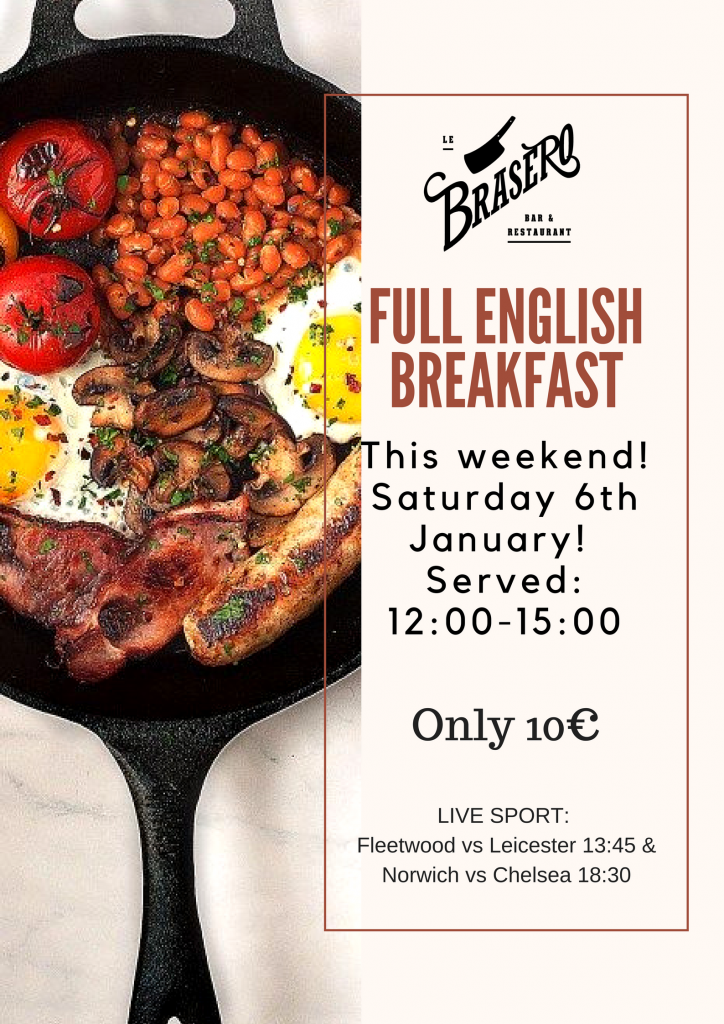 FULL ENGLISH BREAKFAST in Brasero tomorrow…
